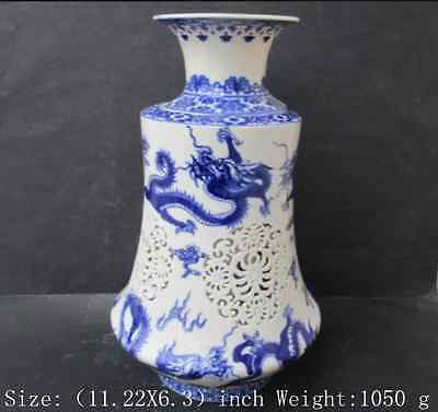 Two antique blue and white porcelain vase hollow out a dragon