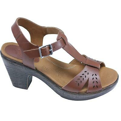 Kravings by Klogs Womens Jagger Leather Wedge Sandals Tan 8 M
