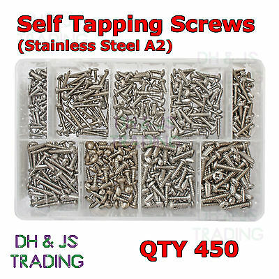 Assorted Box of Stainless Steel Self Tapping Screws - 450 Tappers Screw