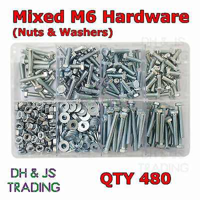 Assorted Box of Mixed M6 Hardware Set Screws Nuts & Flat Washers Qty 480