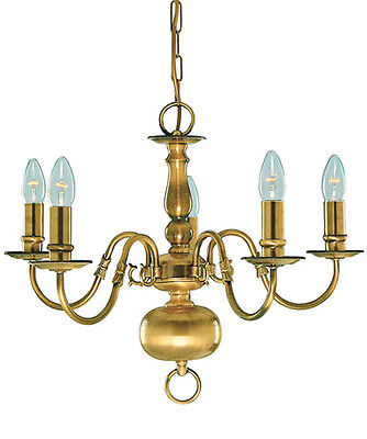 SEARCHLIGHT 1019-5AB Flemish 5 Light Ceiling Light in Solid Antique Brass
