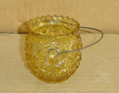 EAPG AMBER KETTLE TOOTHPICK US GLASS 1890