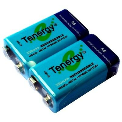 Tenergy 2 x 9V NIMH Rechargeable Battery 250mAh 9 Volt NI-MH