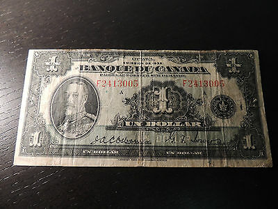 1935 Bank Of Canada $ 1 One Dollars French Osborne Towers F 2413005 Bc-2.