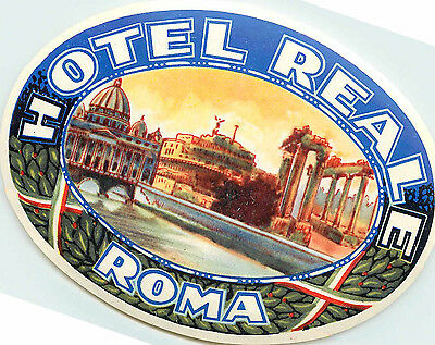 Hotel Reale ~ROMA - ROME / ITALY~ Beautiful Old Luggage Label