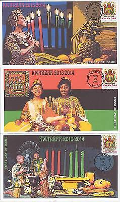 Jvc Cachets -2013 Set Of 3 Kwanzaa First Day Covers Fdc Holiday Topical
