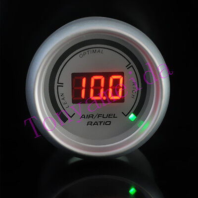 """White Auto Car 2"""" 52mm Air / Fuel Ratio Red Digital Color 20 LED Gauge Meter NEW"""
