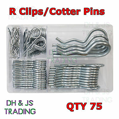 Assorted Box of R Clips (5 Sizes BZP) Qty 75 R-Clips Lynch Cotter Retaining Pins