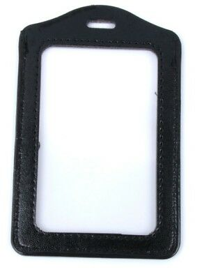 2 X Black Faux Leather Business ID Credit Card Badge Holder Clear Pouch Case