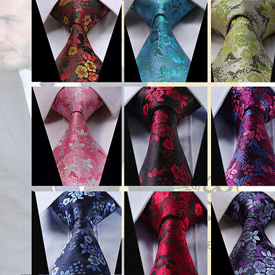Mens Tie Handkerchief Red Blue Yellow Pink Purple Paisley Floral Wedding Silk