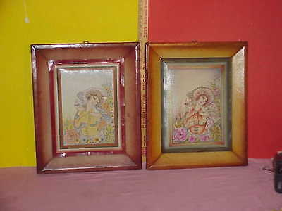 Pair Of Persian Hand Painted Floral Art On Leather Frame Leather Brass Corners