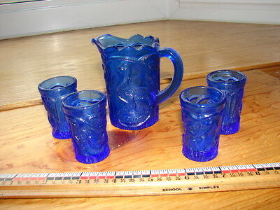 Vintage Cobalt Blue Children's Pitcher and 4 tumblers- Peacock Pattern
