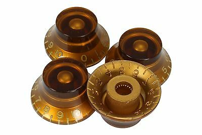Bell Shaped knobs Amber embossed numbers for Gibson Les Paul 4pk