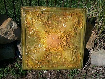 """24"""" X 24"""" Antique Ceiling Tin Wall Art by Lori Daniels -  Greens and Yellow"""