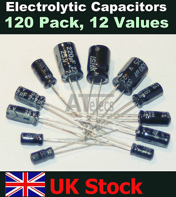 Radial Electrolytic Capacitors 120 Pack, 10 each 12 values Kit/Assortment/Mix UK