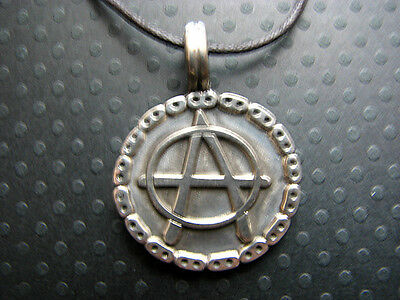 Pewter ANARCHY SYMBOL Necklace Pendant FREE SHIPPING