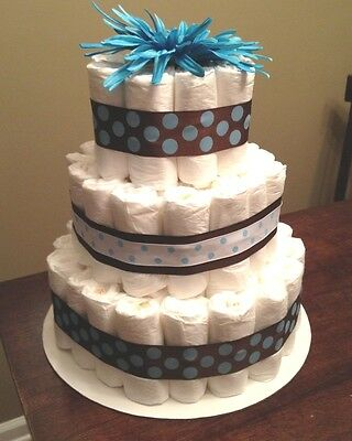 NEW Baby Boy Blue Brown 3-Tier Diaper Wedding Cake, 70-80 Diapers 14 inches