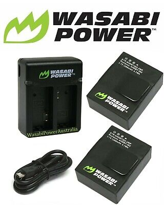 Wasabi Power Battery(1280mAh) x 2 & NEW DUAL USB CHARGER Kit for GoPro Hero3, 3+