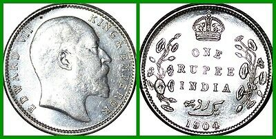 India British 1904 One Rupee Silver Au++