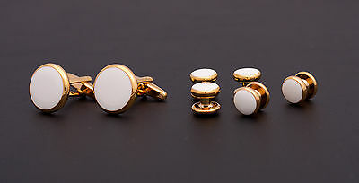 SET Cufflinks and Studs - gold colour metal and decorated with white stone