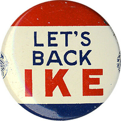 1952 Dwight Eisenhower LET'S BACK IKE Campaign Button (3073)
