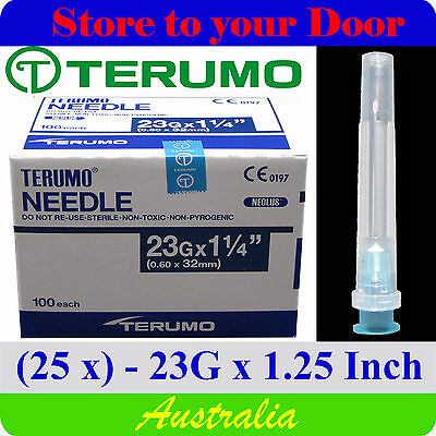 (25) 23G x 1.25 inch Terumo Needles / Medical Hypodermic Syringe Tips - Sharps