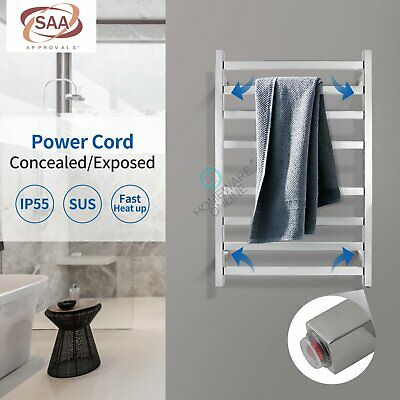 Wall mounted Electric heated towel rail rack Warmer Stainless steel 8 BAR Square