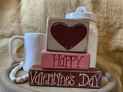 Primitive Country Heart Happy Valentine's Day Shelf Sitter Wood Block Set