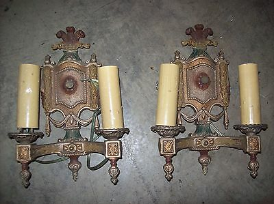 matching pair cast iron sconces 2 arm original paint   (LT 69)