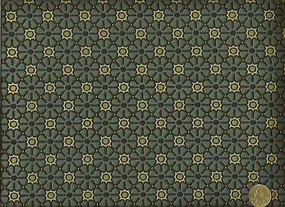 Mid Century Modern Retro Funky Mini Floral Blue Green Upholstery Fabric