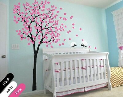 Tree wall decals with hedgehogs Nursery wall decoration for baby's room KR014