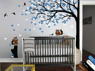 Vinyl wall tree decal with stump, raccoon, birds, leaves for baby's room - KR032