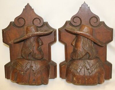 Stunning Pair of Vintage Hand Carved Wooden ,Could be French Men