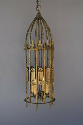 Antique Tall Large Pendant Lamp Lantern Suited to Spanish Revival Tudor (1623)