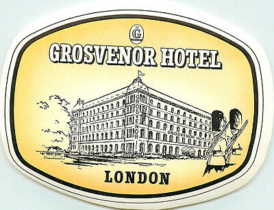 Grosvenor Hotel ~LONDON ENGLAND~ Great Old DECO Luggage Label