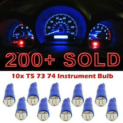 10pcs T5 3-SMD 1206 Instrument Dash Blue LED bulbs light 37 73 74 for Chevy