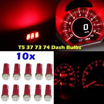 10x Red 3-SMD 1206 Dash T5 Wedge Car LED Light Bulb Lamp 37 73 74 79 for Mitsub