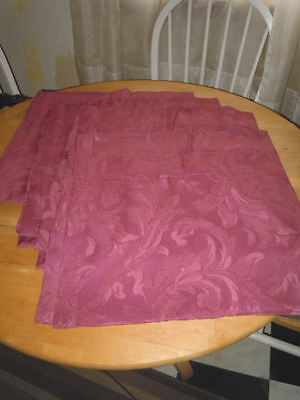 "JC PENNEY'S SET OF FOUR STUNNING DEEP ROSE DAMASK VALENCES FOR 3"" RODS, FLAWLESS"
