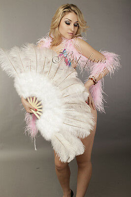 """21""""x 39"""" White marabou & ostrich feather fan burlesque dance with gift box"""