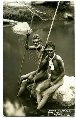 C1930'S/40'S RP NPU POSTCARD TRIBAL 2 ABORIGINAL FISHERMEN SPEARS NORTH QLD f22