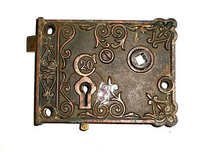Antique C20 Rim Lock Very Ornate late 1800's