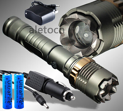 2200 Lm Zoomable CREE XM-L T6 LED Flashlight Torch Zoom Lamp 2X18650+Car Charger