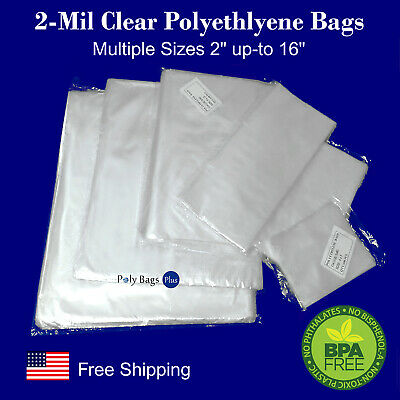 2Mil Poly Plastic Bags MULTIPLE SIZES Clear Open Top Impulse Heat Sealer Baggie
