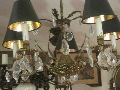 Vintage Brass and Crystal Chandelier, 5 Lights with shades.