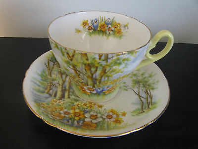 Shelley Daffodil Time Yellow Handle China Cup & Saucer