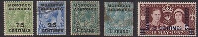 (RP10) 1907-37 GB Morocco mix of 5 stamps