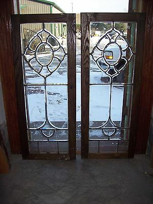 pair very nice framed beveled glass window pr   (Sg 1525)