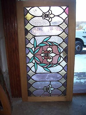 Interesting vibrant fleur de lis window stained glass  (Sg 1531)