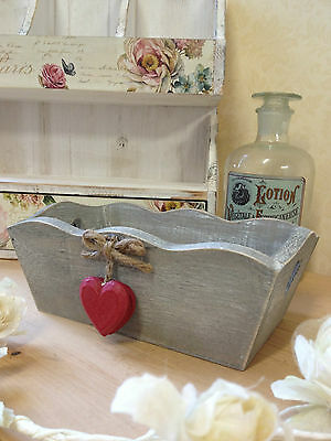 Small Wooden Grey Wash Trug Box Crate Red Hearts Shabby Rustic Vintage Storage
