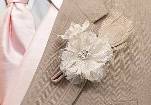 wedding burlap Boutonniere